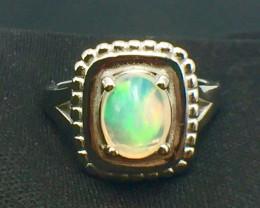 1.45 Ct Natural Opal Sparkiling Gemstone. Silver Ring.DZO 18