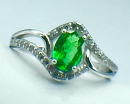 0.73 Ct Natural Tsavarite Garnet Beautifulist Silver 925 Ring. DZT 20
