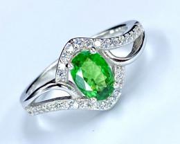 0.73ct. Alluringly Natural Tsavarite Garnet.Silver925 Ring.DZT 20