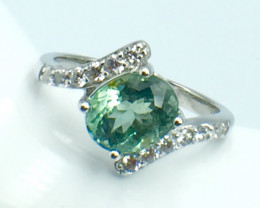 2.18 Ct Natural Paraiba Tourmaline Gemstone Silver Ring. DZP 22