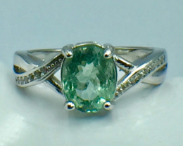 1.76 Ct Natural Paraiba Tourmaline Gemstone Silver Ring. DZP 23