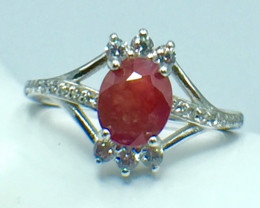 1.29 Ct Ruby Unheated Mozambiq Quality Silver 925 Ring. (DZR 25)
