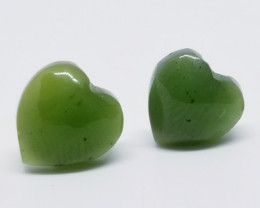 Natural Naphrite Jade Hand Made Carved Stainless Steel Earstuds