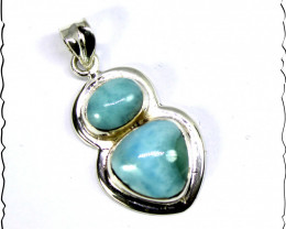 Charming Design Natural Ocean Blue Larimar .925 Sterling Silver Pendant 1.4