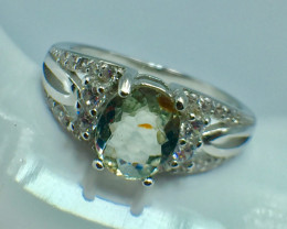 Natural Rare Copper Tourmaline Beautiful Gemstone. Silver Ring. DCT 48