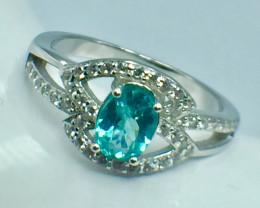 Natural Apatite beautiful Gemstone. Silver 925 Ring. DAP 45
