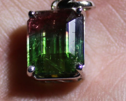 Watermelon Tourmaline 6.00ct Solid 18K White Gold Pendant,Natural,Untreated