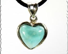 Lovely 1.1 inch Natural Sky Blue Larimar .925 Sterling Silver Heart Pendant