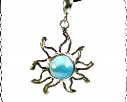 Charming Design Natural Sky Blue Larimar .925 Sterling Silver Sun Pendant 1