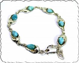 Lovely Natural Sky Blue Larimar .925 Sterling Silver Dolphin Bracelet 7.5in