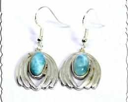 Lovely Natural Sky Blue Larimar .925 Sterling Silver Dangle Earrings 1.5inc