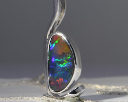 Solid Black N1 Opal from Lightning Ridge set in 18 CT White Gold