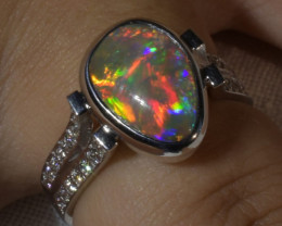 Australian Solid Crystal Black Opal White 18 K Gold Diamond Ring j004