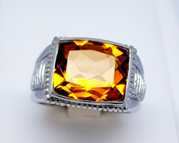 Natural Madeira Citrine 925 Sterling Silver Ring (NJT01)
