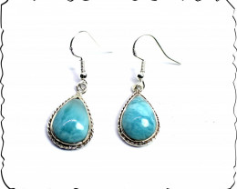 Exquisite Natural Sky Blue Larimar .925 Sterling Silver Earrings 1.5inch