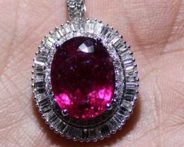 Rubellite 8.40ct or Red Tourmaline Natural Diamonds 1.53ct Solid 18K White