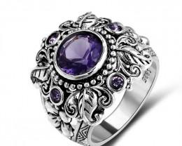 Vintage Amethyst Ring - 925 Silver