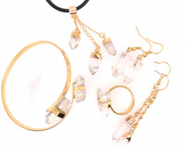 Crystal & Golden Lovers Five Piece Jewelry Set - BR 1201
