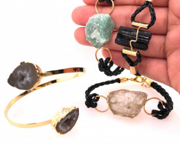 4 x Raw Rock & Funny Gemstones Bracelets - BR 1211