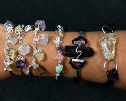 6 x Raw Rock & Funny Gemstones Bracelets - BR 1220