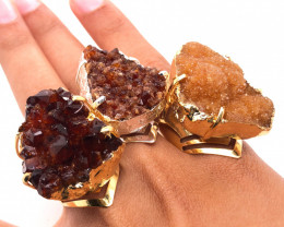 3 x Raw High Grade Druzy Gemstone Golden and Silver Ring - BR 1226
