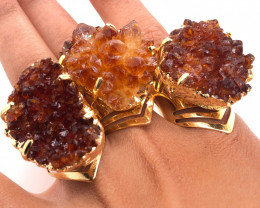 3 x Raw High Grade Druzy Gemstone Golden Ring - BR 1227