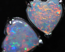 OPAL CRYSTAL HEARTS  SET IN 10 K WHITE GOLD [SOJ6744]+SJ