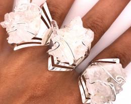 3 x Raw High Grade Druzy Gemstone Silver Ring - BR 1240