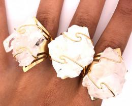 3 x Raw High Grade Druzy Gemstone Golden Ring - BR 1241