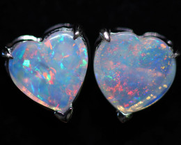 OPAL CRYSTAL HEARTS  SET IN 10 K WHITE GOLD [SOJ6745]+SJ