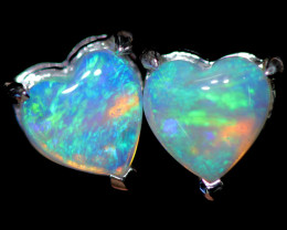 OPAL CRYSTAL HEARTS  SET IN 10 K WHITE GOLD [SOJ6746]+SJ