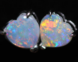 OPAL CRYSTAL HEARTS  SET IN 10 K WHITE GOLD [SOJ6747]+SJ