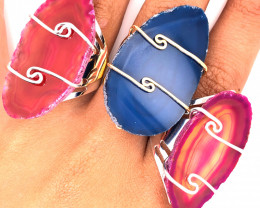 3 x Agate Ring Gold & Silver Plated wire wrapped - BR 1247