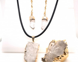 Crystal & Golden Lovers Jewelry Set - BR 1252