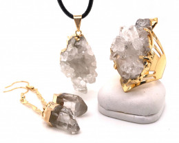 Crystal & Golden Lovers Jewelry Set - BR 1254