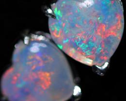 OPAL CRYSTAL HEARTS  SET IN 10 K WHITE GOLD [SOJ6748]+SJ