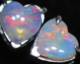 OPAL CRYSTAL HEARTS  SET IN 10 K WHITE GOLD [SOJ6750]+SJ