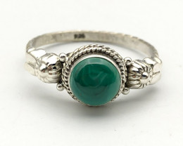 13.08 Crt Natural Malachite 925 Silver ring