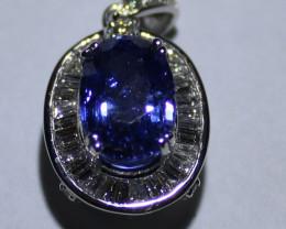 Blue Sapphire 4.20ct Diamonds Solid 18K White Gold Pendant