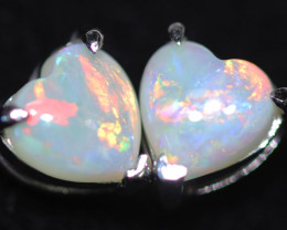 OPAL CRYSTAL HEARTS  SET IN 10 K WHITE GOLD [SOJ6751]+SJ