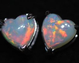 OPAL CRYSTAL HEARTS  SET IN 10 K WHITE GOLD [SOJ6752]+SJ