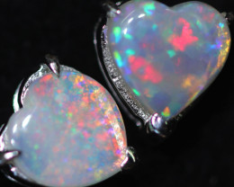 OPAL CRYSTAL HEARTS  SET IN 10 K WHITE GOLD [SOJ6755]+SJ