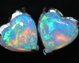 OPAL CRYSTAL HEARTS  SET IN 10 K WHITE GOLD [SOJ6756]+SJ
