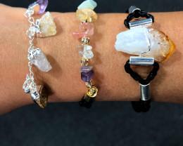 3 x Raw Rock & Funny Gemstones Bracelets - BR 1277
