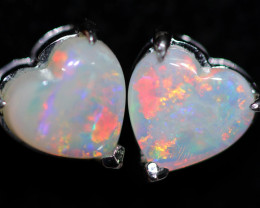 OPAL CRYSTAL HEARTS  SET IN 10 K WHITE GOLD [SOJ6758]+SJ