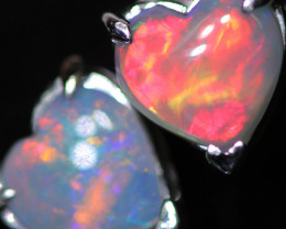 OPAL CRYSTAL HEARTS  SET IN 10 K WHITE GOLD [SOJ6760]+SJ