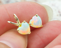 Gem Quality Double Heart 9K Yellow Gold Opal Pendant - OPJ 2296