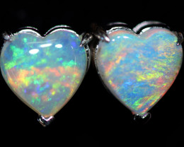 OPAL CRYSTAL HEARTS  SET IN 10 K WHITE GOLD [SOJ6764]+SJ