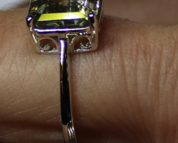 Watermelon Tourmaline 3.83ct Solid 18K White Gold Solitaire Ring