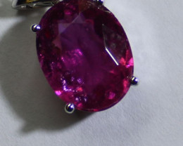 Red Tourmaline 5.30ct or Rubellite Solid 18K White Gold Pendant